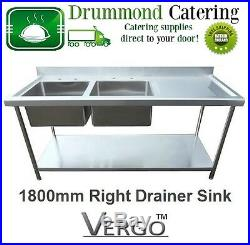 Commercial Catering Kitchen Stainless Steel Sink 1800mm Dbl Bowl Right Drainer