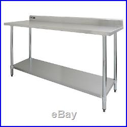 Commercial Catering Kitchen Table Stainless Steel Prep Work Bench Surface 6FT