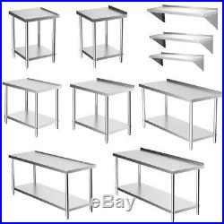 Commercial Catering Kitchen Table Stainless Steel Prep Work Bench Surface/Shelf