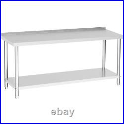 Commercial Catering Kitchen Table Work Bench Stainless Steel 5x2 FT Backsplash