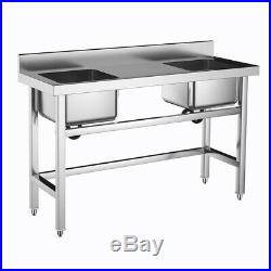 Commercial Catering Sink Stainless Steel Hand Wash Kitchen Double Bowl Drainer