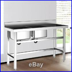 Commercial Catering Sink Stainless Steel Kitchen Double Bowl Wash Table Drainer