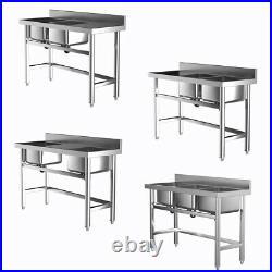 Commercial Catering Sink Stainless Steel Kitchen Double/ Three Bowl Drainer Unit