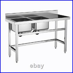 Commercial Catering Stainless Steel Kitchen Sink Double 2 Bowl Table Drainer