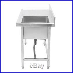 Commercial Catering Stainless Steel Kitchen Sink Single Bowl Washing Basin Table