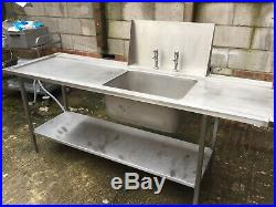 Commercial Catering Stainless Steel Kitchen Sink With Taps And Shelf