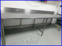 Commercial Catering Table Work Bench Stainless Steel Base Backsplash Kitchen