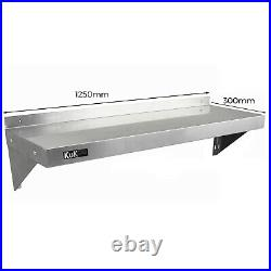 Commercial Catering x 2 Stainless Steel Shelves Kitchen Wall Shelf Metal Unit 90