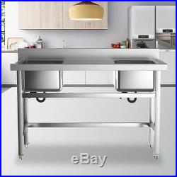 Commercial Double Bowl Wash Table Kitchen Handmade Sink Kitchen Stainless Steel