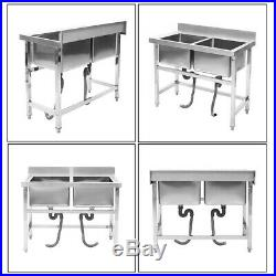 Commercial Double Sink Wash Table Kitchen Handmade Sink Kitchen Stainless Steel