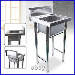 Commercial Freestanding Hand Wash Sink Stainless Steel Kitchen Basin Catering