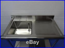 Commercial Kitchen Catering 1.2m 1200 MM Single Bowl Stainless Steel Sink Unit