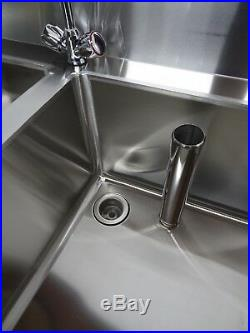 Commercial Kitchen Catering 1.5m 1500 MM Double Bowl Stainless Steel Sink Unit