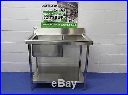 Commercial Kitchen Catering 1m 1000 MM Single Bowl Stainless Steel Sink Unit