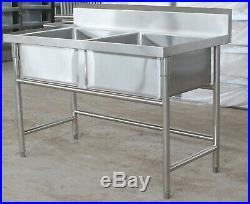 Commercial Kitchen Catering 304 Stainless Steel Double Bowls Sink 1206080cm