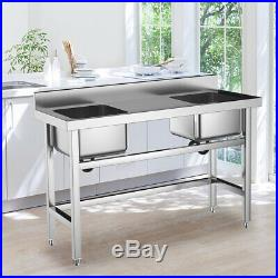 Commercial Kitchen Catering Sink Stainless Steel Double Bowl Double Drainer Wash