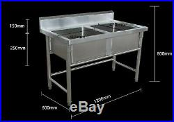 Commercial Kitchen Catering Stainless Steel Sink Double Bowl 1.2m Splashback