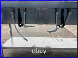 Commercial Kitchen Double Sink stainless, freestanding, elbow lever taps. VGC