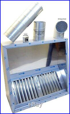 Commercial Kitchen Extraction Canopy Hood Kit 1500mm Extraction Fan Ductwork