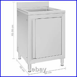 Commercial Kitchen Sink Cabinet 60x60x96 cm Stainless Steel D5T9