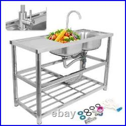 Commercial Kitchen Sink Catering Stainless Steel Prep Table Drainer Double Bowl