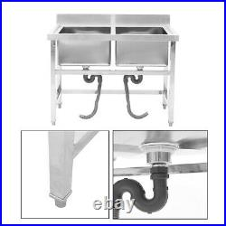 Commercial Kitchen Sink Double Deep Bowl Stainless Steel Pot Wash Unit Catering