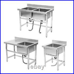 Commercial Kitchen Sink Free Standing Stainless Steel Catering Washing Pre Table