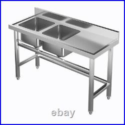 Commercial Kitchen Sink Stainless Steel Catering Dishwash Bowl Basin Unit Table