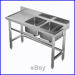 Commercial Kitchen Sink Stainless Steel Catering Double Deep Bowls Wash Sink NEW