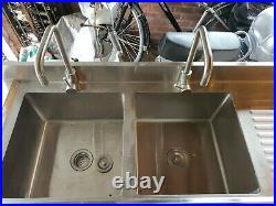 Commercial Kitchen Sink Stainless Steel Catering Double Deep Bowls Wash Sinks UK