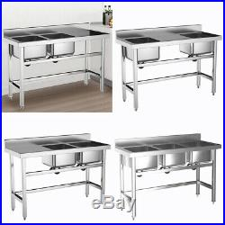 Commercial Kitchen Sink Stainless Steel Catering Ware-washing Bowl Basin Unit