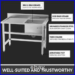 Commercial Kitchen Sink Stainless Steel Catering Warewashing Single Basin Units