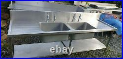 Commercial Kitchen Sink Stainless Steel Sink 2.40m Wash Table Unit Double Bowl