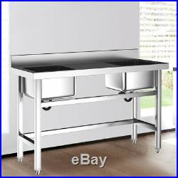 Commercial Kitchen Sink with Middle Platform Wash Table 2 Bowl Stainless Steel