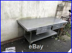 Commercial Kitchen Stainless Steel Catering Table with two drawers 750 X 1800