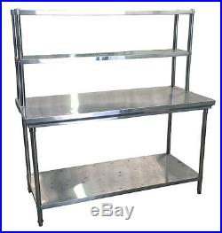 Commercial Kitchen Stainless Steel Double Overshelf For Prep Tables 1800mm
