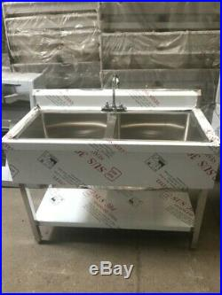 Commercial Kitchen Stainless Steel Sink Double Bowl 1.2m With Splashback