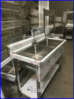 Commercial Kitchen Stainless Steel Sink Double Bowl 1m With Splashback
