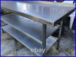 Commercial Kitchen Stainless Steel Table 3 Shelf Large