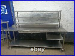 Commercial Kitchen Stainless Steel Treble Overshelf For Prep Tables 1800mm