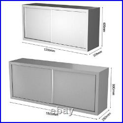 Commercial Kitchen Unit Stainless Wall Hanging Upper Cabinet Slide Door Cupboard