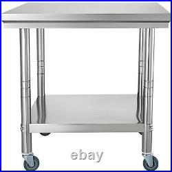 Commercial Kitchen Work Bench Food Stainless Steel Prep Table with 4 Caster Wheels