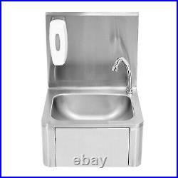 Commercial Knee Operated Hand Wash Sink Stainless Steel Kitchen Basin withTap