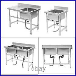Commercial Sink Stainless Steel Catering Kitchen Deep Bowl Drainer Wash Table