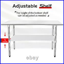 Commercial Stainless Steel Catering Prep Table Work Bench Kitchen Worktop Flat