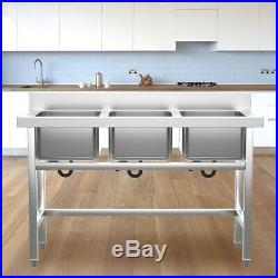 Commercial Stainless Steel Catering Sink Restaurant Kitchen 3 Bowls Washing Unit