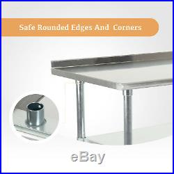 Commercial Stainless Steel Catering Table Work Bench Kitchen Backsplash 2x3FT