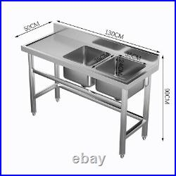Commercial Stainless Steel Catering Wash Table Kitchen Sink Double Bowl+Platform