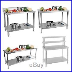 Commercial Stainless Steel Catering Work Table Kitchen Food Work Bench Shelf