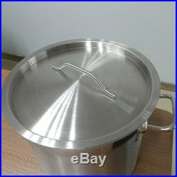 Commercial Stainless Steel Deep Stock Pot Cater Stew Soup Boiling Pan With Lid